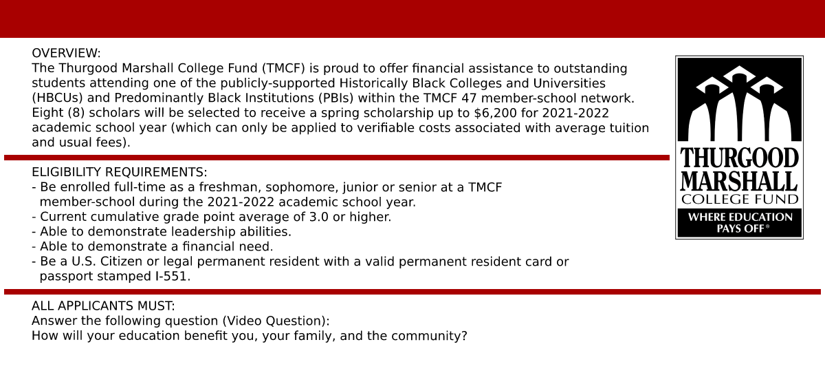 2021-2022 TMCF Scholarship