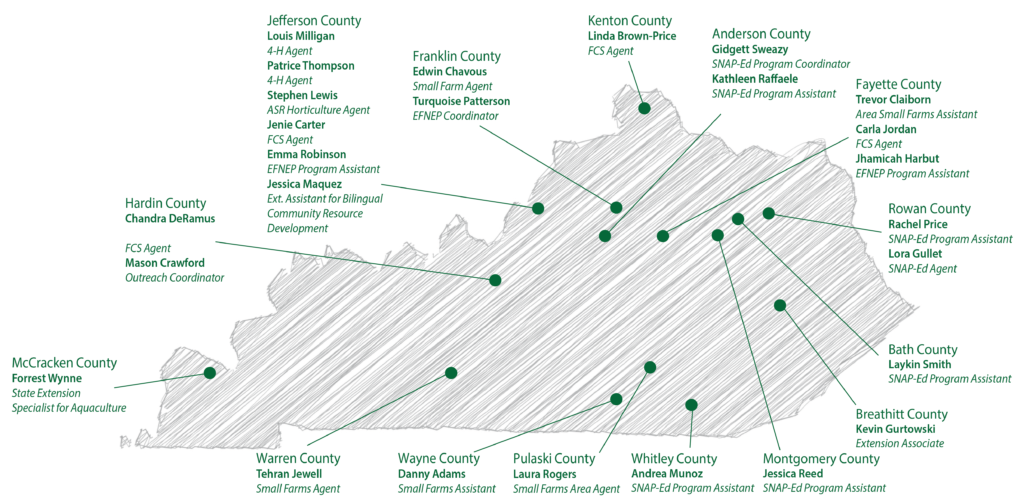 Map of Kentucky State University's County Field Offices with Field Professionals identified in their county
