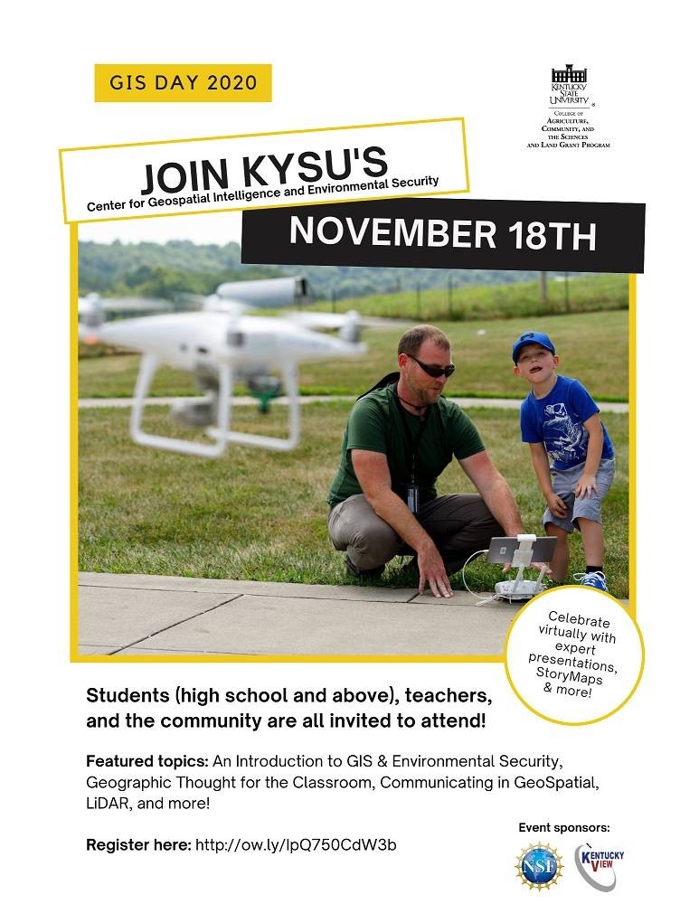 GIS Day 2020 Flyer. Man and male child operatining a drone