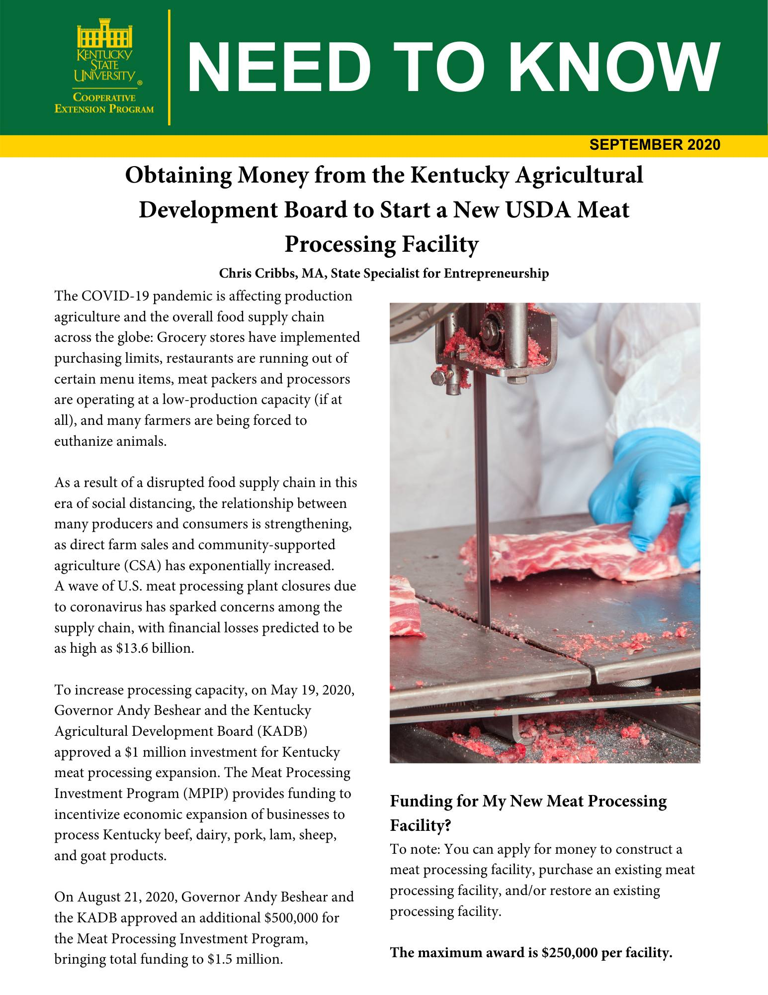 Meat Processing Plant Funding Flyer