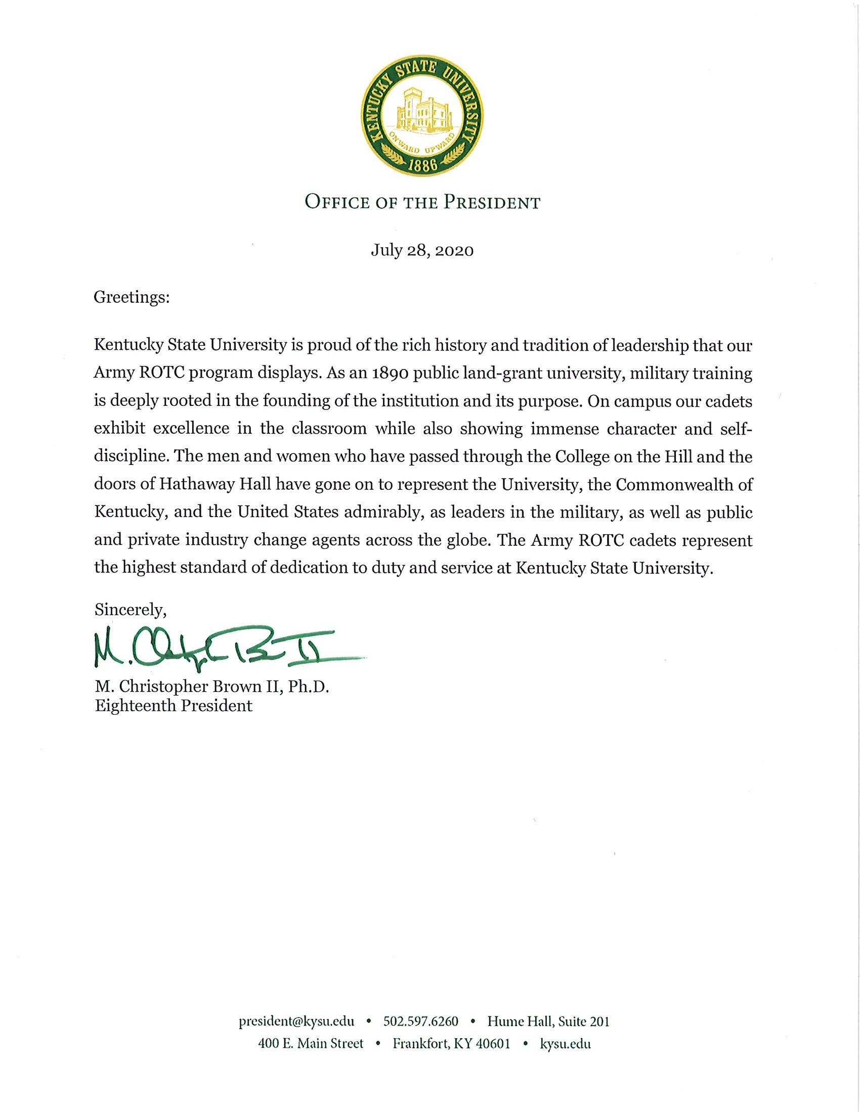 President's Welcome Letter