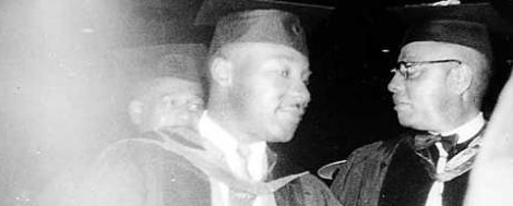Reverend Dr. Martin Luther King Jr. and Kentucky State College President Rufus Atwood (Kentucky Historial Society)