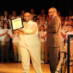 Mr. Damon Green receiving the L2L award from  Dr. Roosevelt Shelton