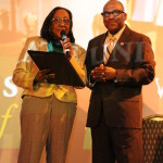 Mrs. Lutisha Coleman-Morton receiving the L2L award from  Dr. Shelton