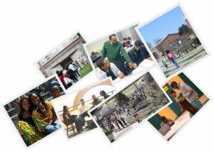 A collage of students in various parts of the campus.