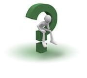 A cartoon man siting on a question mark.