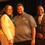 Mrs. Coleman-Morton presents the LCM Scholarship to Music major Ervin Webster