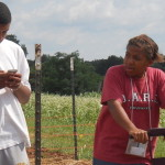 Monitoring and recording soil moisture under different mulch treatments at the KSU Research and Demonstration farm.