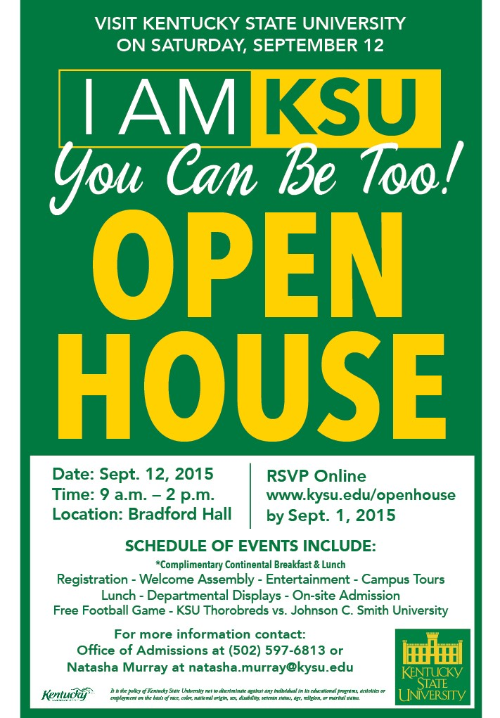 Ksu Welcomes You To An Open House Kentucky State University