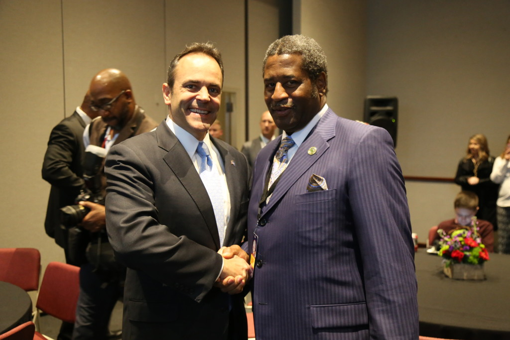 Inauguration Day President Burse Greets Governor Matt