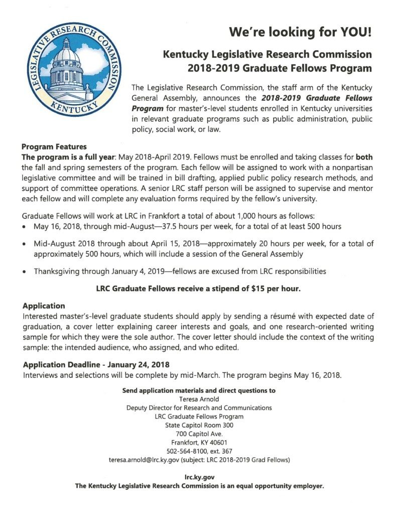 Kentucky legislative research commission 2018 2019 graduate fellows for more information call the career and professional development center at 502 597 6700 or email them at careerkysu madrichimfo Choice Image