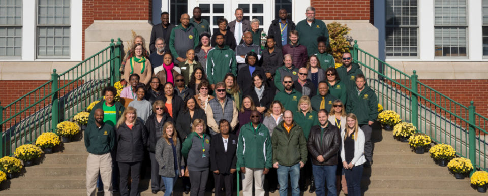 FRANKFORT, Ky., -- Kentucky State University Extension employee group photo Friday, Nov. 17, 2017 at the Extension Building in FRANKFORT.