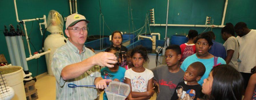 Children at the Aquaculture Center
