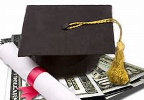 Tuition picture of graduation hat, money, and diploma