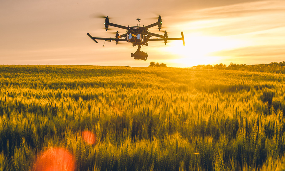 Picture of a drone flying above a field