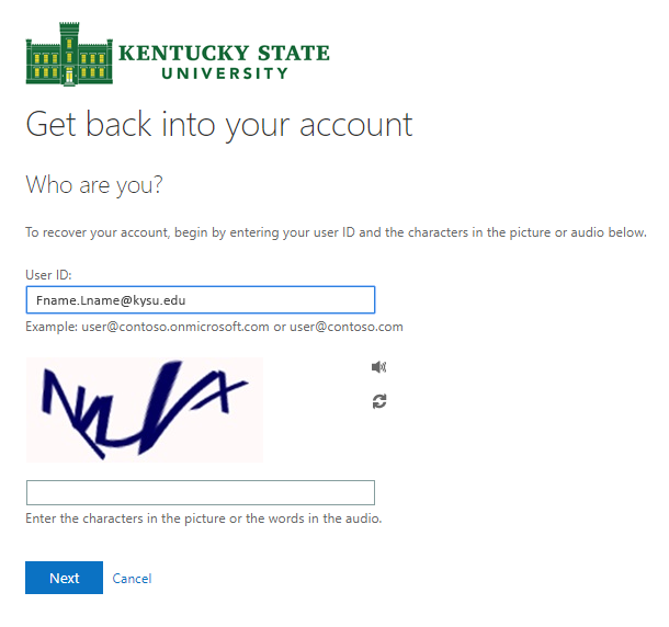 Reset Password Screen