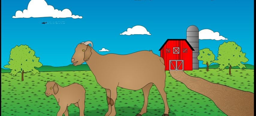 Picture of two Cartoon Goats with a barn and trees in the background