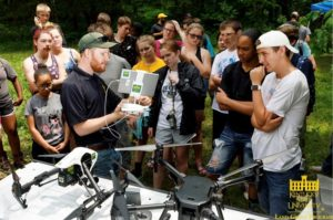 Picture students learning about KSU drones