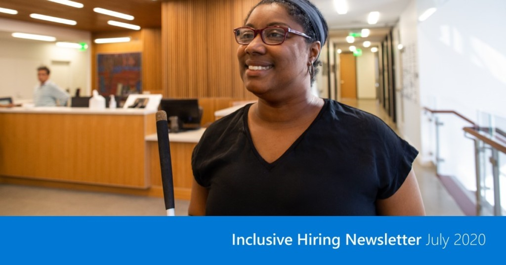 Black lady in a office representing Inclusive Hiring Newsletter July 2020 by Microsoft